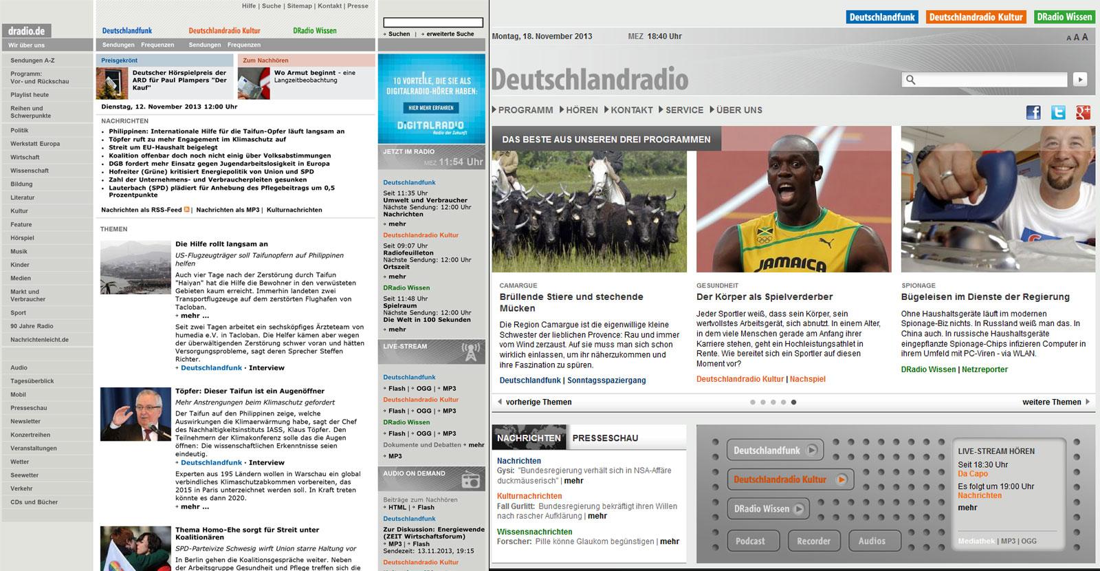 Webseite des Deutschlandradios (links: vor dem Relaunch; rechts: nach dem Relaunch)