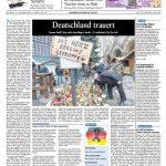 Die Rheinzeitung titelt mit einem Bild der Gedenkstätte vor der Gedächtniskirche. Mit Blumen und Kerzen gedenken die Menschen dort den Verstorbenen. Entgegen des Pappschildes auf dem Foto zeigt die Headline: Nicht nur Berlin ist getroffen, sondern ganz Deutschland.