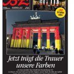 Das Wahrzeichen der Hauptstadt erstrahlt auf dem Cover der BZ in deutschlandfarben. Die Zeitung verdeutlicht so: Nicht nur Berlin, sondern ganz Deutschland trauert und rückt so noch näher zusammen.