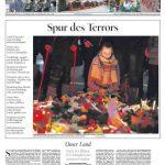 Der Tagesspiegel zeigt eine Trauernde an der Gedenkstelle. Es ist eine oft bemühte Methode, um die Trauer und die Tragödie, weiter in Szene zu setzen. Und mindestens genauso oft wirft diese Art der Bebilderung die Frage auf: Ist das wirklich nötig oder nicht vielmehr geschmacklos?