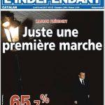 Angelehnt an Macrons politische Bewegung thematisiert die französische Zeitung L'Indépendant den ersten Gang Macrons als neugewählter Präsident Frankreichs.