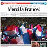 Die spanische Zeitung La Razon bedankt sich sogar auf französisch für den Sieg Macrons.