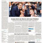 """Die Süddeutsche Zeitung zeigt Macron als volksnahen Menschen. Auch hier wird klar gesagt: """"Europa atmet auf""""."""