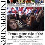 Der Independant hebt die Wichtigkeit dieses Ergebnisses hervor. Mit Macron als neuem Präsidenten wird dem populistischen Trend in Europa vorerst Einhalt geboten.